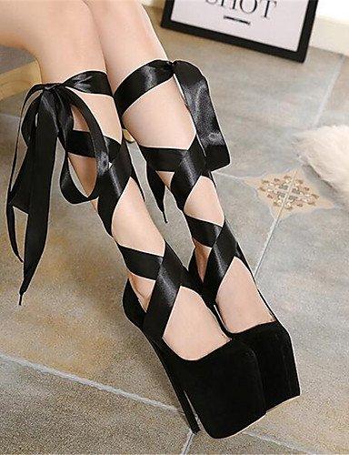 WSS 2016 Chaussures Femme-Habillé-Noir / Rouge-Talon Aiguille-Bout Arrondi-Talons-Similicuir black-us8 / eu39 / uk6 / cn39