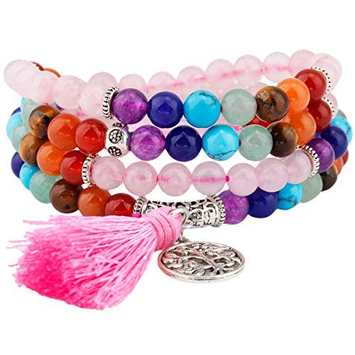 KYEYGWO 108 Gebet Mala Perlen Armband für Damen Herren, 6mm Tibetisch-buddhistischen 7 Chakra Heilstein Halskette für Unisex, Rosenquarz