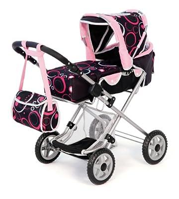 Cochecito Combi para muñecas CITY-STAR, black-pink de Bayer Design
