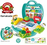 #7: Ramakada Supermarket Play Set Suitcase Toy with Scanner and Calculator, Currency Note, Cards, Groceries, Multi color