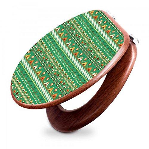 Preisvergleich Produktbild banjado - Design Toilettendeckel WC Sitz Brille 36m x 5cm x 45cm mit Motiv Tipi Muster, Toilettendeckel:Holzoptik