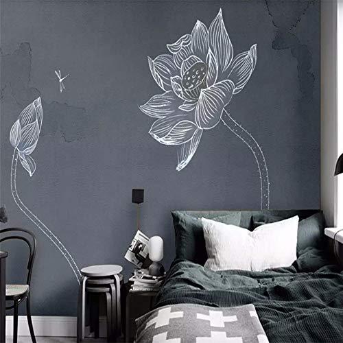 Carta da parati adesiva muro 3d fiore di loto dipinto a mano fresco e semplice fotomurali 3d photo wallpaper moderna murale