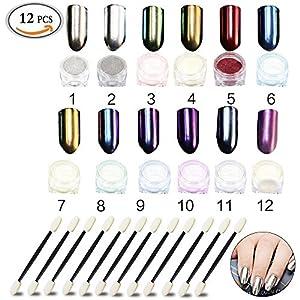 12 Pcs Nail Paillettes Poudre, Nail Powder Effet Miroir Scintillement Nail Art Manucure, Paillettes et micro-billes, pigments Mirror Powder Poudre Glitter Set