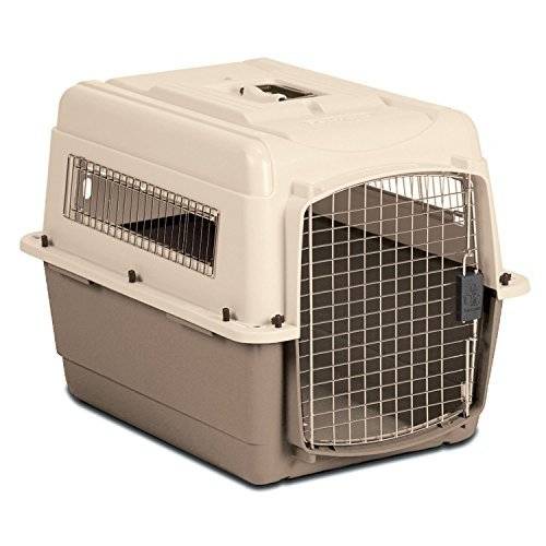 Petmate Medium Vari Ultra Fashion Dog Kennel In Bleached Linen And Black Dahlia by Petmate