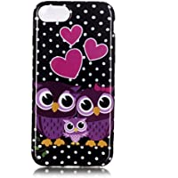 Cover per Apple iPhone 7 Silicone Morbido, Moonmini® Custodia Gomma Morbida Ultra Sottile Scocca Gommosa Ultraslim Soft TPU Gel - Purple Owl Pink Love Heart in Black White Dots