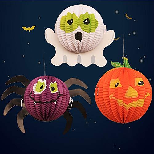 AYUQI Halloween 3-er Papier Laternen Zum Aufhängen 3D Kürbis Spider Ghost Zusammenklappbar Papier Laterne für Halloween Party Dekorationen