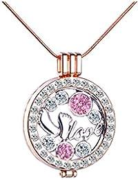 Infinite U Moda pies Love Mujer Collar intercambiables camafeo colgante de cristal de aleación cadena de jersey, Rose Gold + Pink