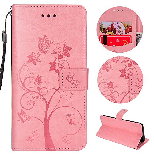 Sycode Hülle für iPhone 8 Plus,Schutzhülle für iPhone 8 Plus,Schmetterling Baum Blume Ameise Lederhülle Hülle für iPhone 8 Plus/7 Plus (5.5 Zoll)-Rosa