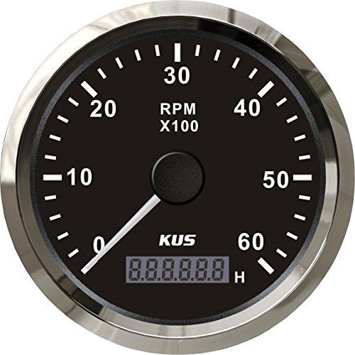 Kus Tachometer Drehzahlmesser Drehzahlmesser mit Stunde Meter 6000RPM 85mm 12V/24V mit Hintergrundbeleuchtung (12 V-meter)