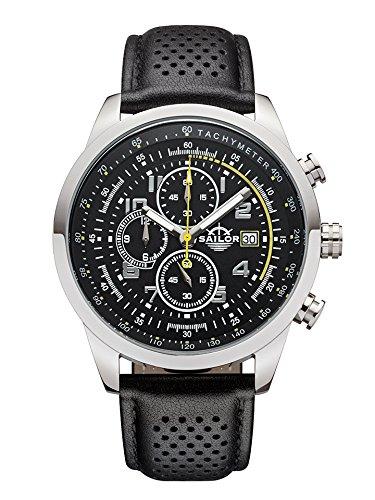 Sailor Herren Uhr Sydney Analog Quarz Chronograph schwarz-gelb mit Leder Armband SL201-1002
