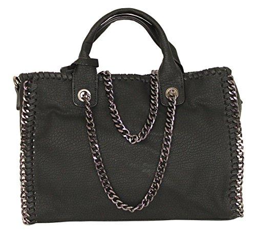 Limited Colors Henkeltasche Damen GRACE Lederlook mit Kette und Schultergurt (Schwarz Lederstruktur) (Leder Tote Prada Tasche)