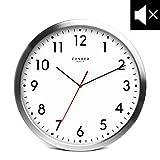 Cander Berlin MNU 2030 Weiße Wanduhr aus Aluminium mit lautlosem Uhrwerk - 30,5 cm 12 Zoll (Ø) - kein nerviges Ticken