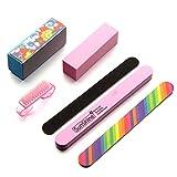 Bodhi2000 6 Stück Pro Maniküre Nagelpflege Werkzeuge Kit Nagelfeilen Puffer Block Pinsel Nail Art Zubehör Set
