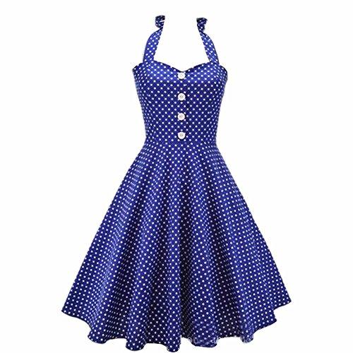 Dissa M1276 Damen 50er Retro Cocktail Vintage Rockabilly Kleid Blau