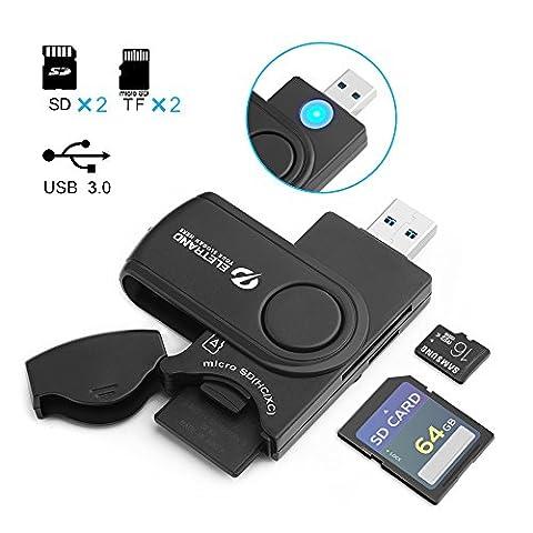 USB 3.0 Lecteur de Carte, Eletrand USB 3.0 4-Fentes Card Reader pour SD, Micro SD, TF, SDXC, SDHC, MMC, RS-MMC, Micro SDXC, Micro SDHC Cartes Mémoires, Compatible avec Windows, Mac OS et Linux - Noir