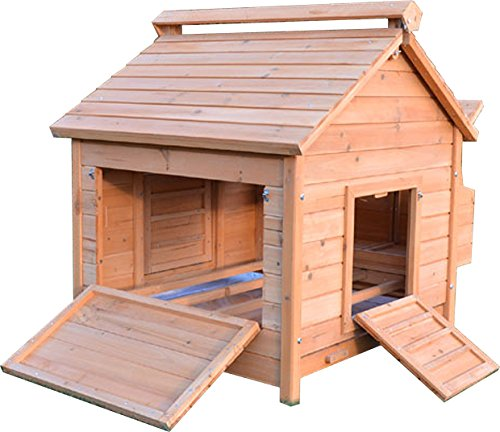 Slide-out Schubladen (FeelGoodUK Hühnerstall Hen House GEFLÜGEL ARK Home Nistkasten Coup L - Slide Out Reinigung Fach & Innovative 4 Position Dachlüfter (COOP Haus L))
