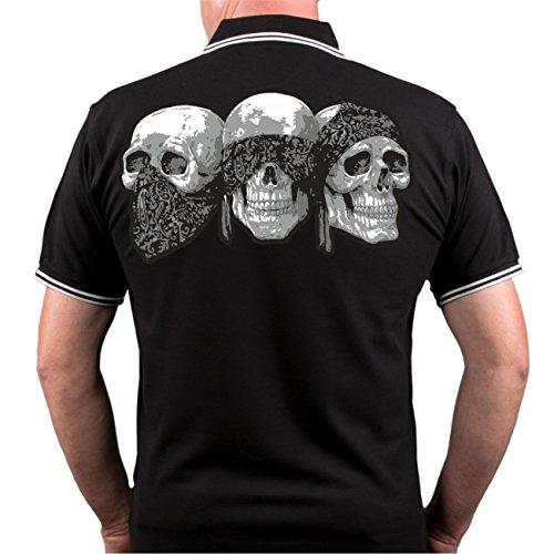Männer und Herren POLO Shirt Patch mit Rückendruck Schwarz/Weiß