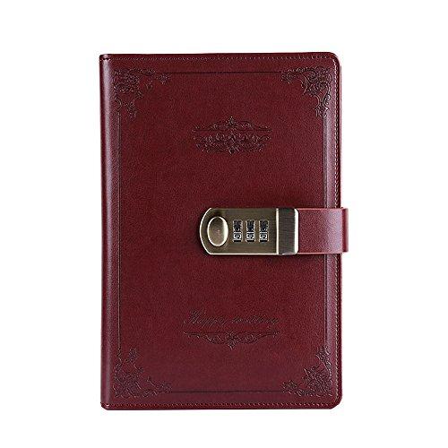 Yakri Notizbuch, Tagebuch im Retro-Stil mit Zahlenschloss (TPN109) A5 Size weinrot (China Zeitzonen)