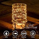 Guirlande lumineuse LED lampe deco fil de cuivre CozyHome - Longueur totale 5 M | 100 LED blanc chaud | NE fonctionne PAS avec des piles, mais sur secteur | de CozyHome
