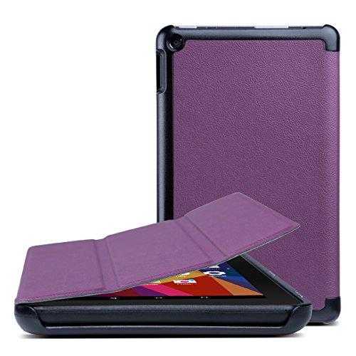 Lavendel Staub (ULAK Fire 7 Hülle 2015, Premium-Folio PU Ledertasche PC Case Cover Amazon Fire 7.0 Zoll (5. Generation - 2015 Modell)(Lavendel))