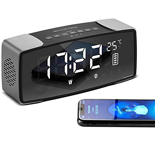 SMARTRO P2 Wecker Bluetooth-Lautsprecher, Doppel Lauter Radiowecker für Schlafzimmer, Kopfenden, Reisen, Tiefschläfer, 7 Zoll Großes LED-Display, Digitales FM-Radio, Stereo-Sound, Snooze, AC and Batteriebetrieb