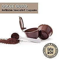 Coffee Chef (TM ) 2Pcs Refillable Nescafe Dolce Gusto Capsule With 1Pcs Spoon | Reusable and Compatible with Mini Me, Genio, Piccolo, Esperta and Circolo Machine â€