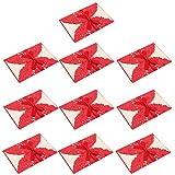 Baoblaze 10Sets hohlen Spitze Hochzeitseinladung Grußkarte mit Umschlag Set für Hochzeit Verlobung Party - rot, 25 x 18 cm