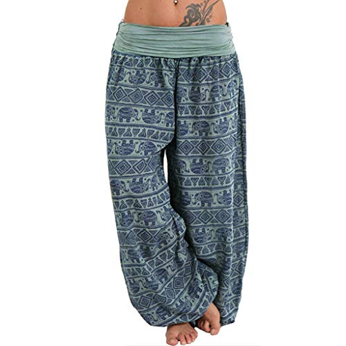 RISTHY Harem Pantalón con Veraniego Print Boyfriend Aladin Bombacho Bohemia Sudadera Baggy Yoga Mujer Talla Grande Gran Tamaño Pantalón