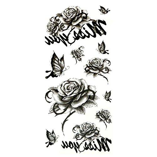 Oottati tatuaggi temporanei sexy rose in bianco e nero si dimentica (set di 2)