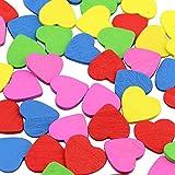 DEKOWEAR Coeur Auto-adhésif avec de la Colle Point 50 pièces pour la Décoration en Bois, 18 mm en Signe de Coeur en Forme de l'amour - Charme de Bonne Chance à la Main (Coloré)