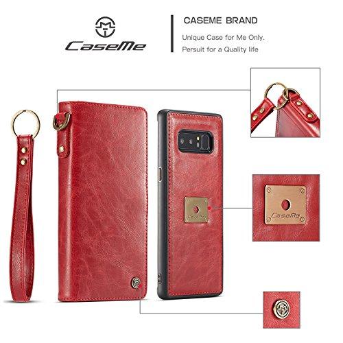 Executive-schwarz-roten Rahmen (Hhpcspc Für Samsung Galaxy Note 8 Fall, CaseMe Hochwertiges Leder Handmake 2 in 1 Multi-funktionale Retro-Stil Schutzhülle, abnehmbare TPU + PC Backshell mit Lanyard (Color : Red))