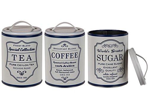 Bada Bing 3er Set Metalldose Kaffeedose Vorratsdose LANDHAUS Rund Blau Weiß Kaffee Tee Zucker Dose...