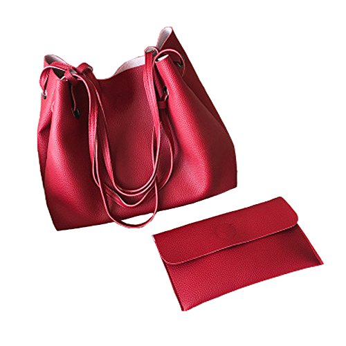 647acfbd9576e Jinberry Retro Groß Schultertasche für Damen   Vintage Kunstleder  Handtasche Tragetasche Shopper mit Passendem Geldbeutel Rot