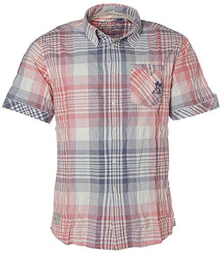 Kitaro Herren Kurzarm Shirt Hemd Freizeithemd Karo Curacao Fadet Red