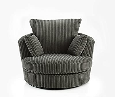 Large Swivel Round Cuddle Chair 2 Seater Fabric Chenille Leather Designer Scatter Cushions from MEBLE ROBERTO SP ZOO