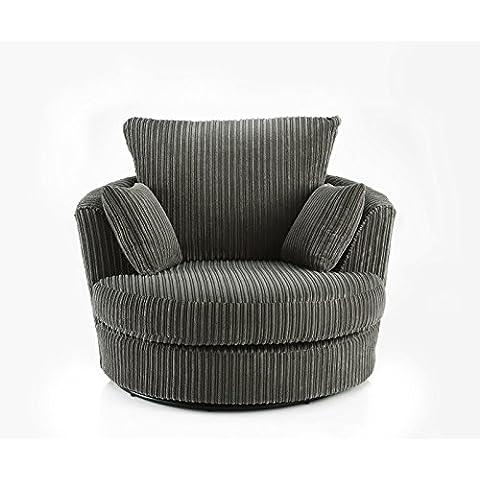 Grande giro redondo cuddle silla 2plazas tela chenilla–Funda de piel cojines, Pana, Gris, 2