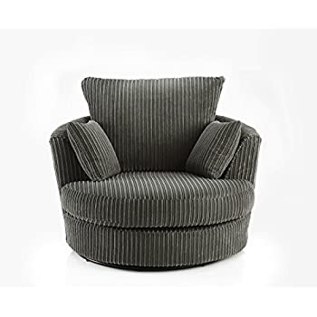 Favorite Swivel Round Cuddle Chair Fabric Chenille Leather Designer Scatter  QM86
