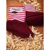Gestrickte Baby-Socken Söckchen 8 cm grün lila beige grau rot rosa Reborn