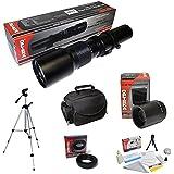 Opteka 500mm-1000mm Telephoto Lens Kit, Includes + Case + Tripod + Cleaning Kit + T Mount For Canon EOS 70D, 60D, 60Da, 50D, 1Ds, 7D, 6D, 5D, 5DS, Rebel T6s, T6i, T5i, T5, T4i, T3i, T3, T2i And SL1 Digital SLR Cameras