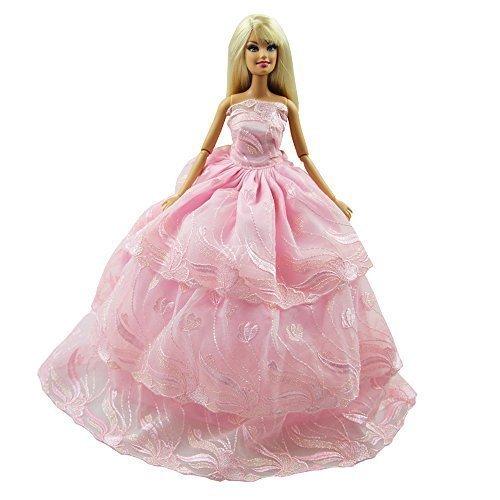 Preisvergleich Produktbild Best Gift for Kid Handgemachte Qualität Multi-layer Prinzessin Hochzeitskleid Partykleider Cocktailkleider für Barbie-Kleidung Geschenk-ROSA FARBE XMAS-GESCHENK