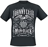 Photo de Johnny Cash Outlaw Music T-Shirt Manches Courtes Noir par Johnny Cash