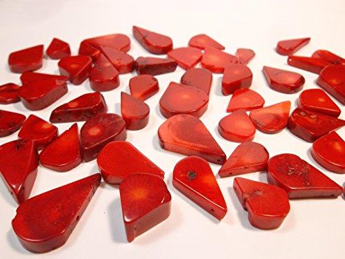 50g. Italienische Natur Koralle Perlen Rot Edelstein Naturstein Tropfen für Schmuck Kette Basteln Coral Beads G617