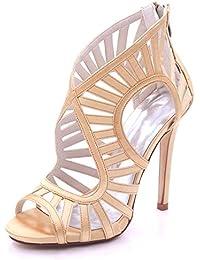 Elegant high shoes Sandalias de La Boda de Las Mujeres Open Toe High Heel 7216-03 Cremallera Multicolor Prom 3...