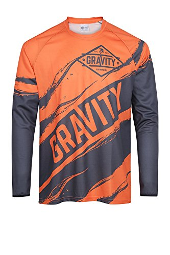 XL Mountain Bike Jersey, Waterproof Long Sleeve Orange Shirt, Adult Mens, Small, Medium, Large, XL, Breathable & Lightweight, Best Bicycle Jerseys on Amazon, Great Clothing Gift (Flag Thermal-shirt)