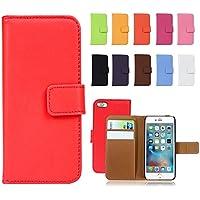 Fancy Cherry® Funda portafolio de lujo en piel genuina con ranura para tarjetas para Apple iPhone 4/4S, iPhone 5/5S, iPhone 6/6 Plus, iPhone 7/7 Plus, iPhone 5C, alta calidad, mujer, morado