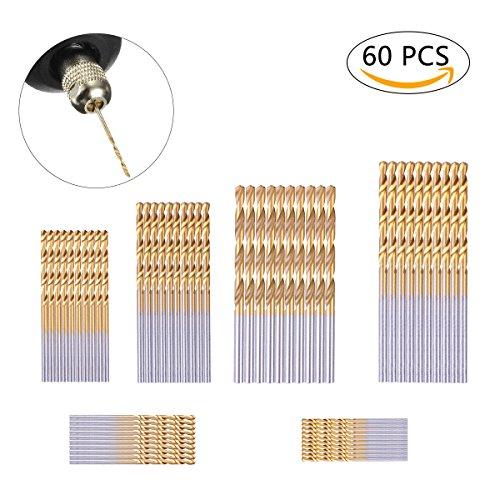 YoungRich 60 Stücke Spiralbohrer Micro Titanium Bohrerset HSS Bohrer Set Metallbohrer für Holz Kunststoff Kupfer