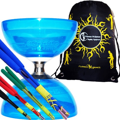 Cyclone QUARTZ (Blau) Freiläufer (mit kugellager) Dreifache Lagerung Kombi-Set mit Farbige Diablo FIBER-Handstäbe und Diaboloschnur +Reisetasche! Jongliergeräte / Diabolo Für Kinder (Blau Handstäbe)