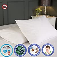 Waterproof Pillow Protectors Covers Cases Pair Anti Allergy Anti Dust Mite Zippered Anti Bacterial Breathable Washable (Pillow Protector)