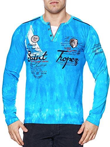 Herren Washed Polo St. Tropez langarm Shirt Clubwear T-Shirt V-Neck longsleeve Türkis