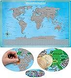 blupalu Rubbelweltkarte   Weltkarte zum Rubbeln   Version 2018 inklusive Chip zum Rubbeln   in Silber   World Scratch Map